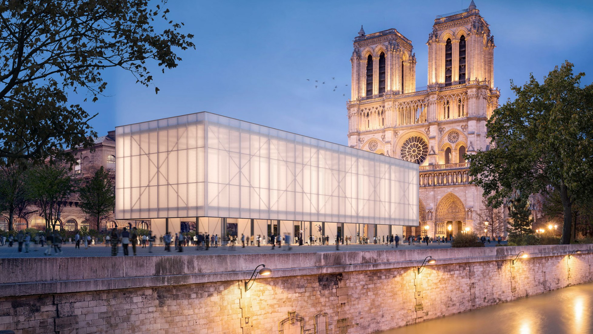 Night view, rendering. Temporary Pavillon Notre‑Dame by Gensler. Image Courtesy of Brick Visual.
