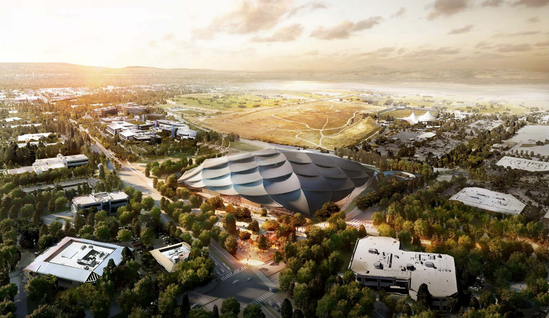 Rendering. New Plans for Google's New Headquarters in California by BIG and Heatherwick