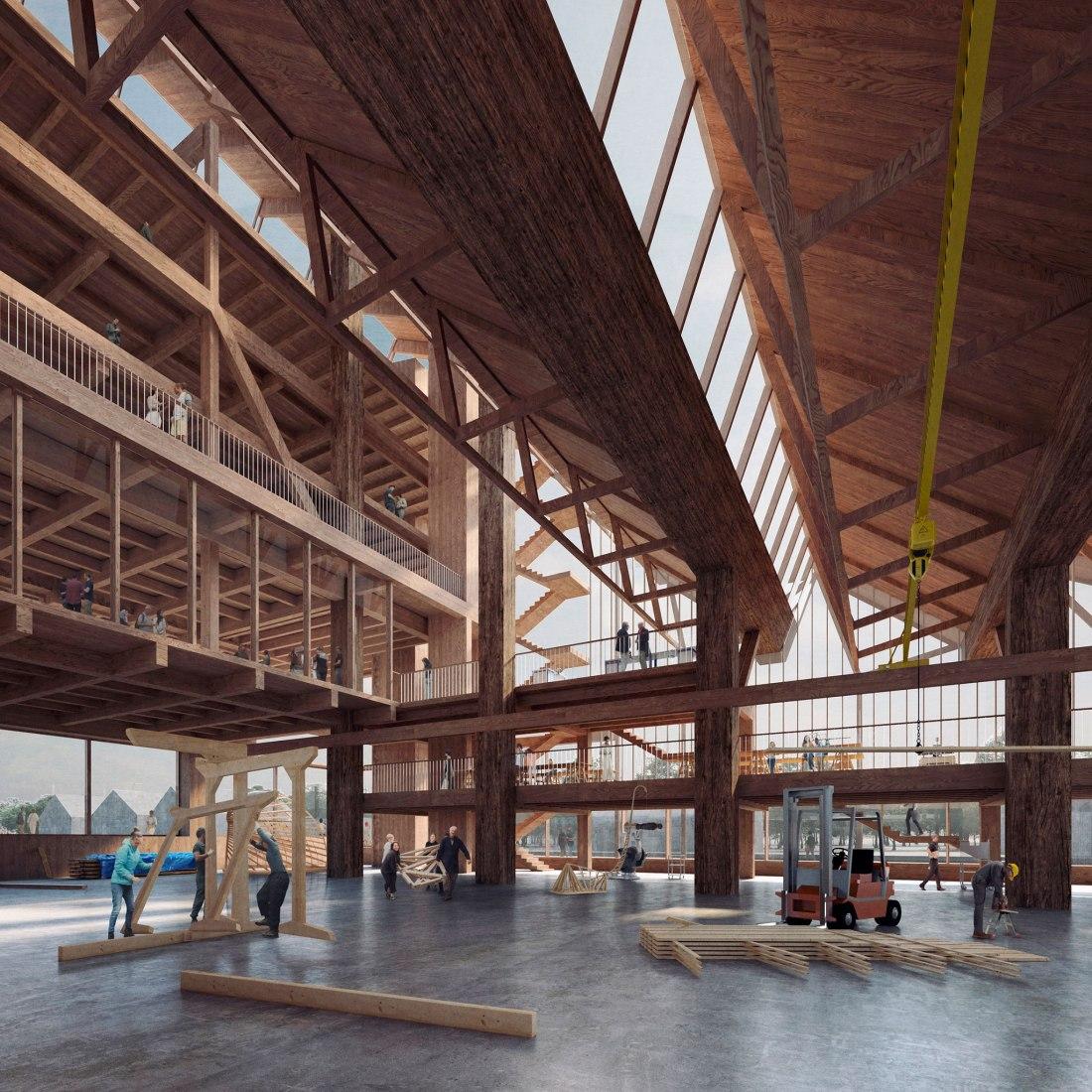 La propuesta de Grafton Architects demuestra el proyecto y el potencial estructural de la madera. Imagen cortesía de la Universidad de Arkansas.