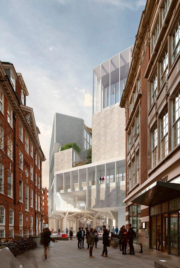 Conexión edificio desde la calle. 44 Lincoln's Inn Fields/The Paul Marshall Building por Grafton Architects.