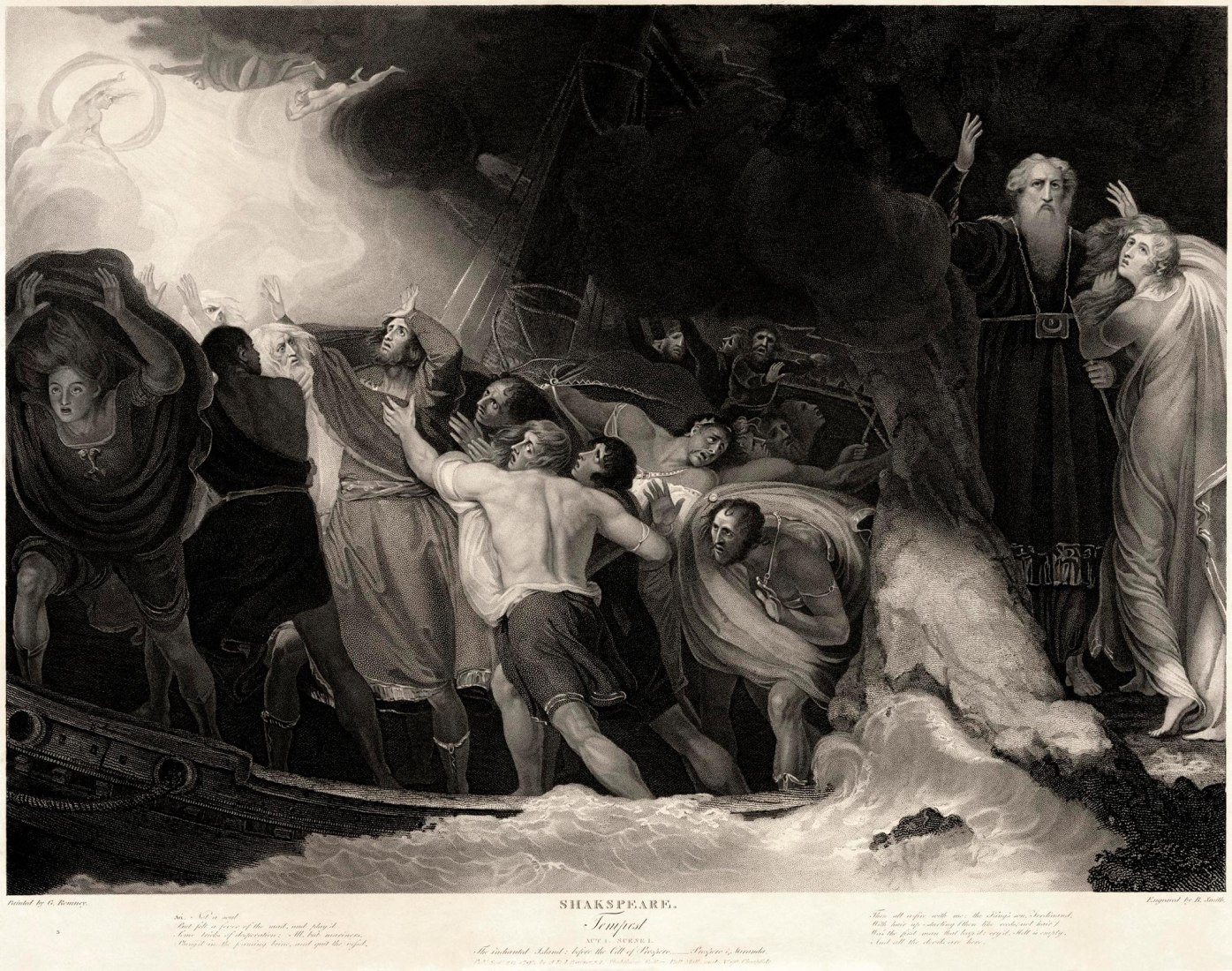 Act I, Scene 1 of The Tempest by William Shakespeare, in an engraving based off of a painting by George Romney.  Published by J. & J. Boydell at the Shakespeare Gallery, Pall Mall & at No. 90 Cheapside. Via Wikimedia Commons licensed under CC0 1.0 (Public Domain). Image © Benjamin Smith