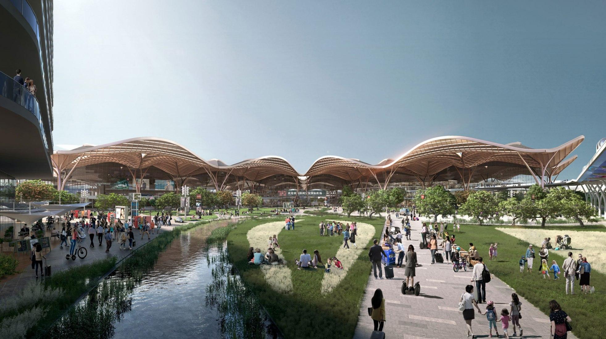 Vista exterior. Centro de transporte y aeropuerto de Shenzhen por Grimshaw. Imagen cortesía de Grimshaw