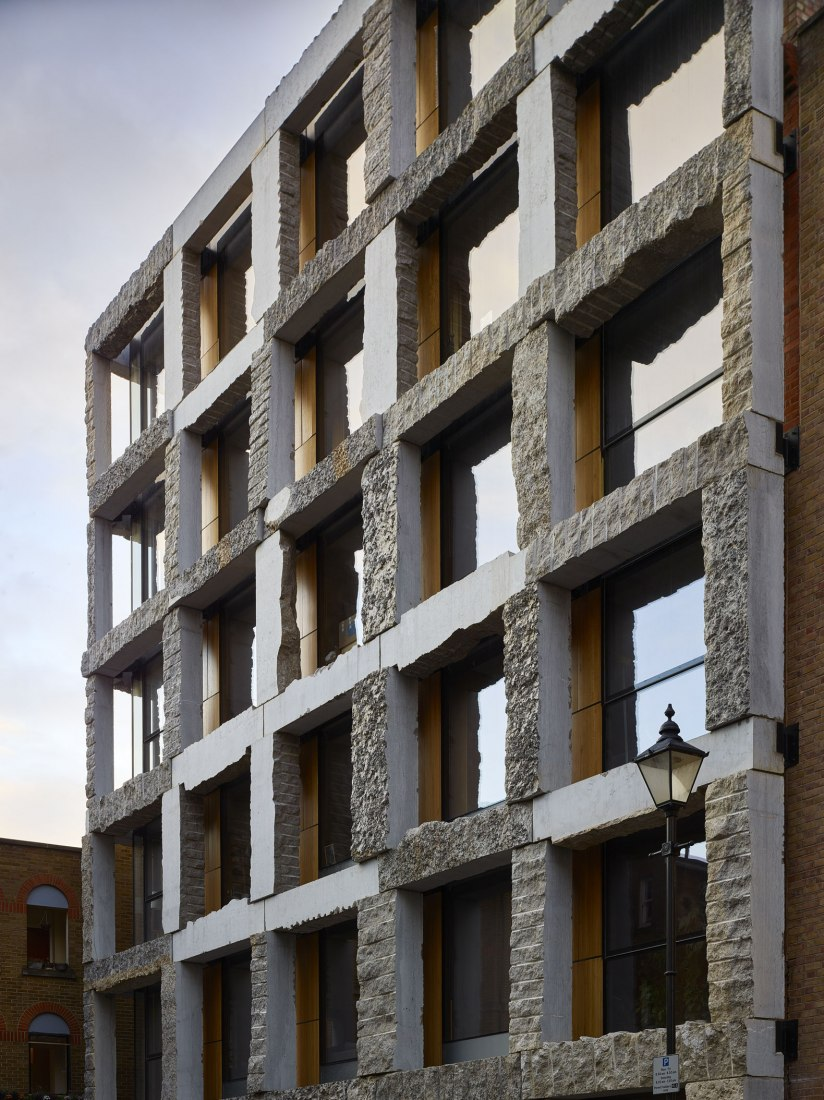 Facade. 15 Clerkenwell Close by GROUPWORK + Amin Taha Architects. Photograph by Timothy Soar