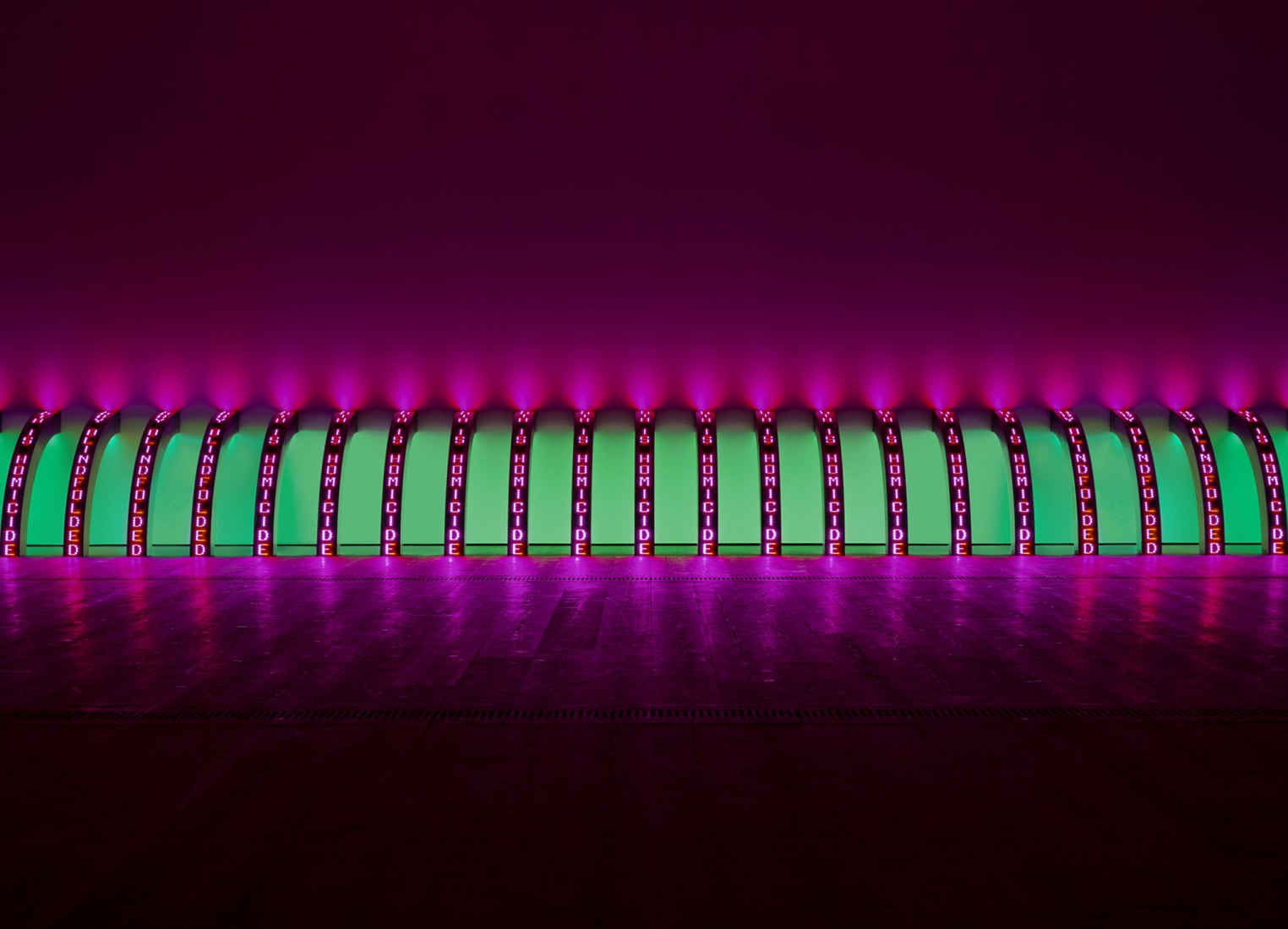 Jenny Holzer. Purple, 2008. 20 LED signs with blue, green, red & white diodes. Each element: 148.1 x 13.3 x 14.8 cm. Text: U.S. government documents. Courtesy the artist © 2019 Jenny Holzer, member Artists Rights Society (ARS), NY / VEGAP. Photograph by Collin LaFleche.