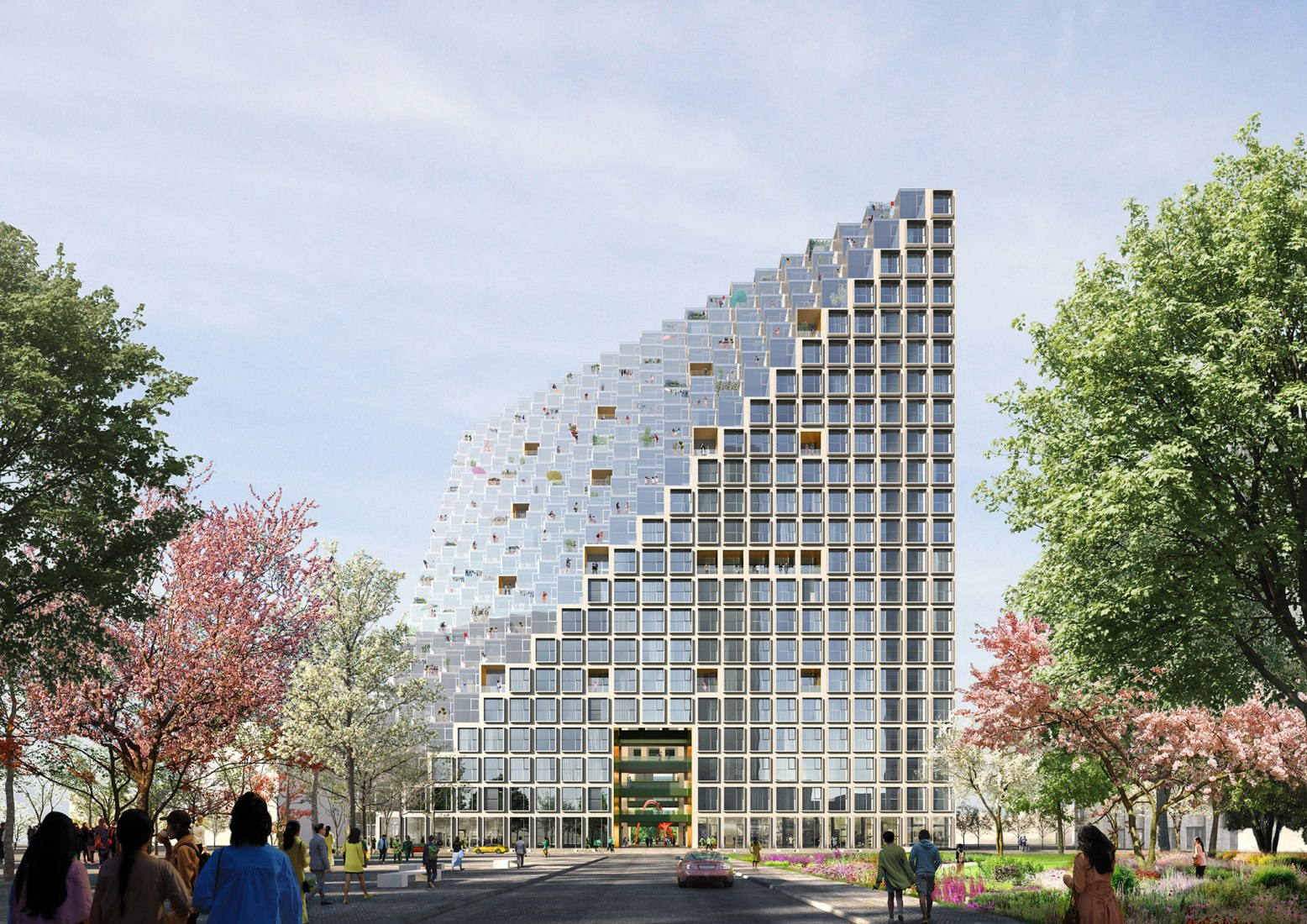 Outside rendering. Xinhu Hangzhou Prism Breaks Ground by OMA. Image by Bloomimages, Courtesy of OMA