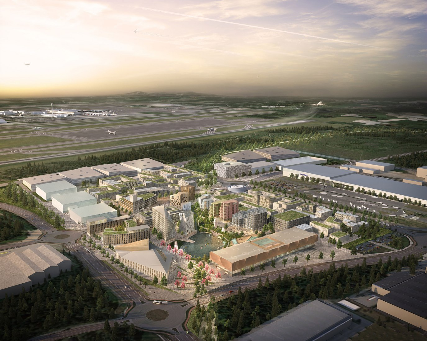 Aerial view. Masterplan of Oslo Airport City by Haptic Architects and Nordic — Office of Architecture. Image courtesy of Forbes Massie, Haptic Architects and Nordic — Office of Architecture