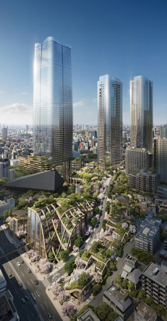 Vista panorámica (día) de Toranomon-Azabudai, Tokio. Imagen © Heatherwick Studio / DBox para Mori Building