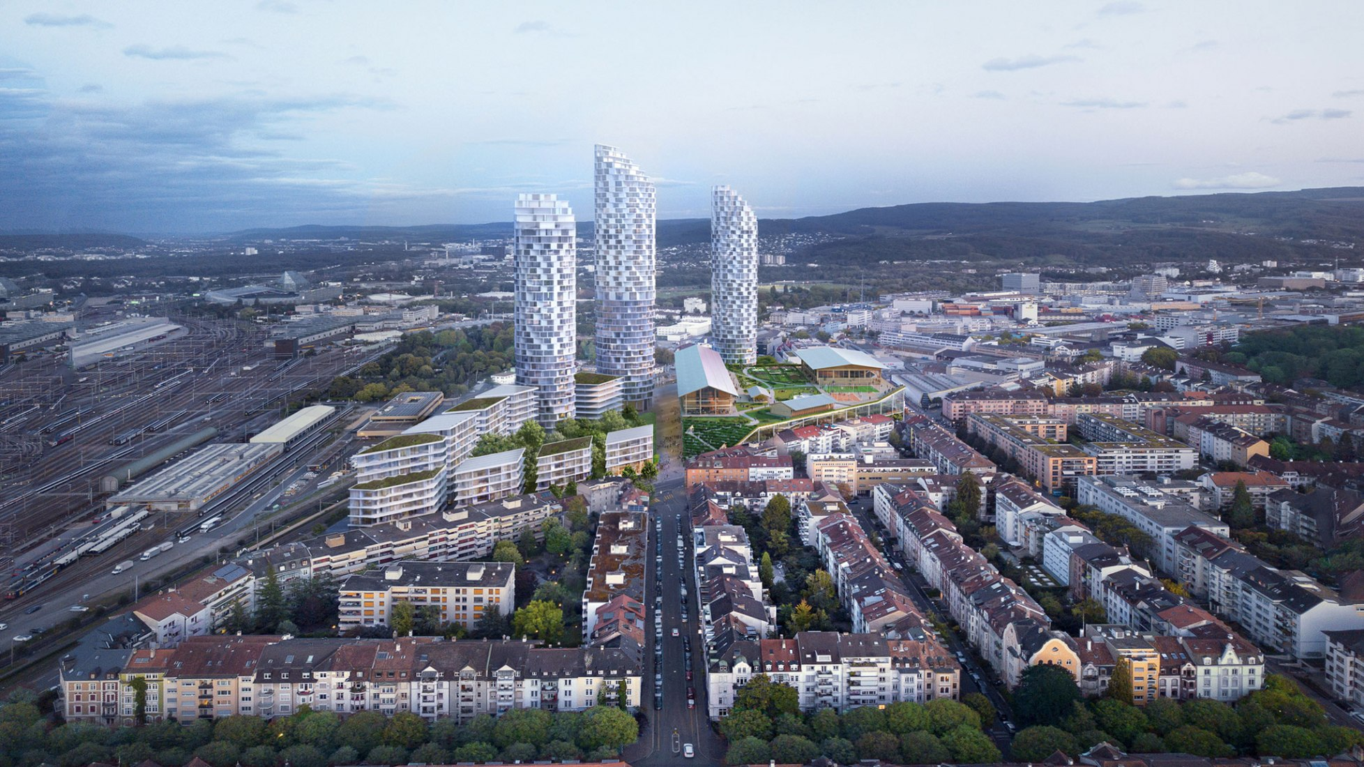 This is what the Dreispitz Nord area should look like in about ten years. The Güterstrasse (center of the image) will lead to the area in the future. Visualization courtesy of Herzog & de Meuron