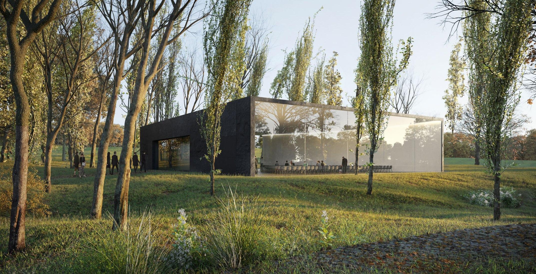 Exterior rendering. New Funeral Ceremony Centre by HofmanDujardin. Rendering by VERO Visual