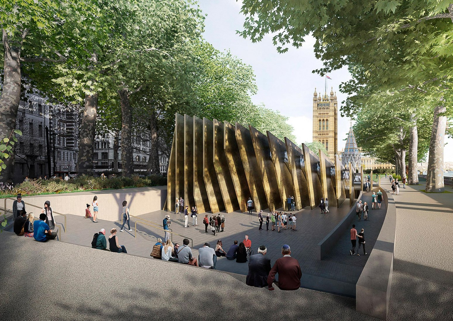 Rendering. UK Holocaust memorial by Adjaye Associates and Ron Arad Architects