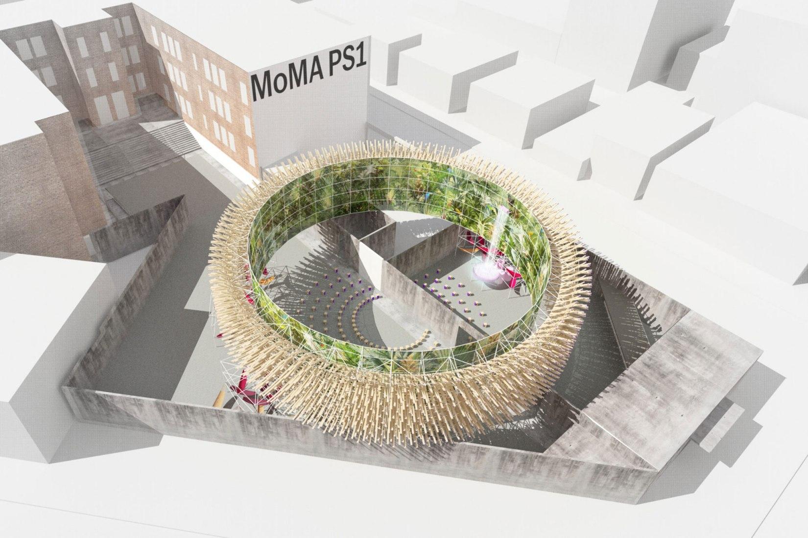 Rendering. Hórama Rama by Pedro & Juana. Winners of the Young Architects Program 2019, MoMA PS1, New York. Image Courtesy of Pedro & Juana.