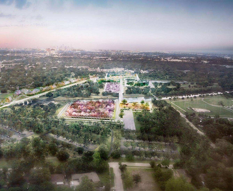 Vista de pajaro. Diseño del plan director del Jardín Botánico de Houston por West 8