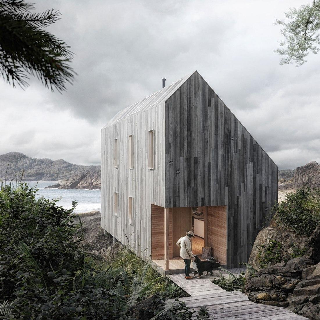 Visualización exterior. Casa Ikea por The Backcountry Hut Company. Fotografía por Plus Visual