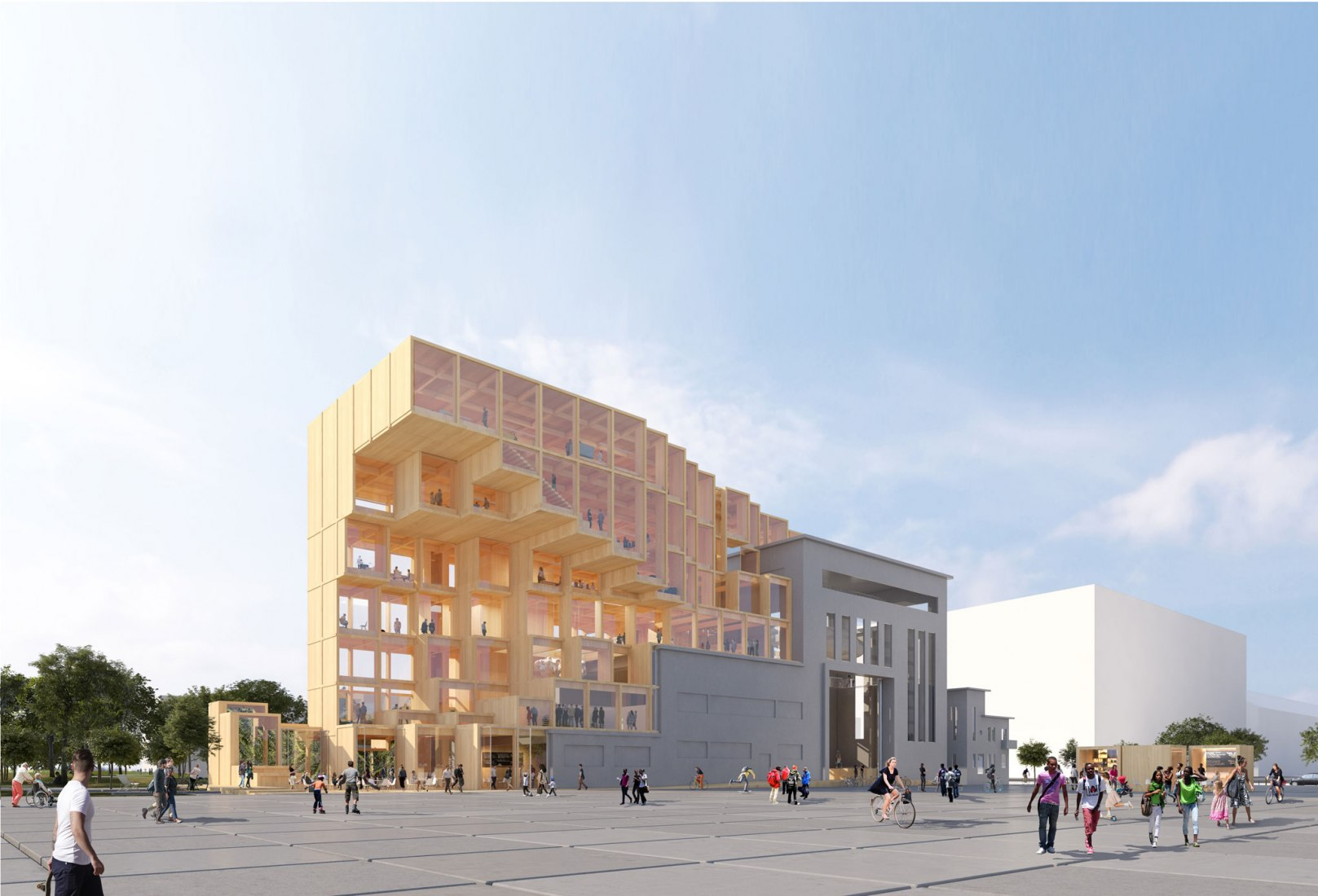Visualización. Proyecto Odyssée Pleyel en un emplazamiento industrial en Saint-Denis (93 por Jakob + MacFarlane. Imagen cortesía de Jakob + MacFarlane.