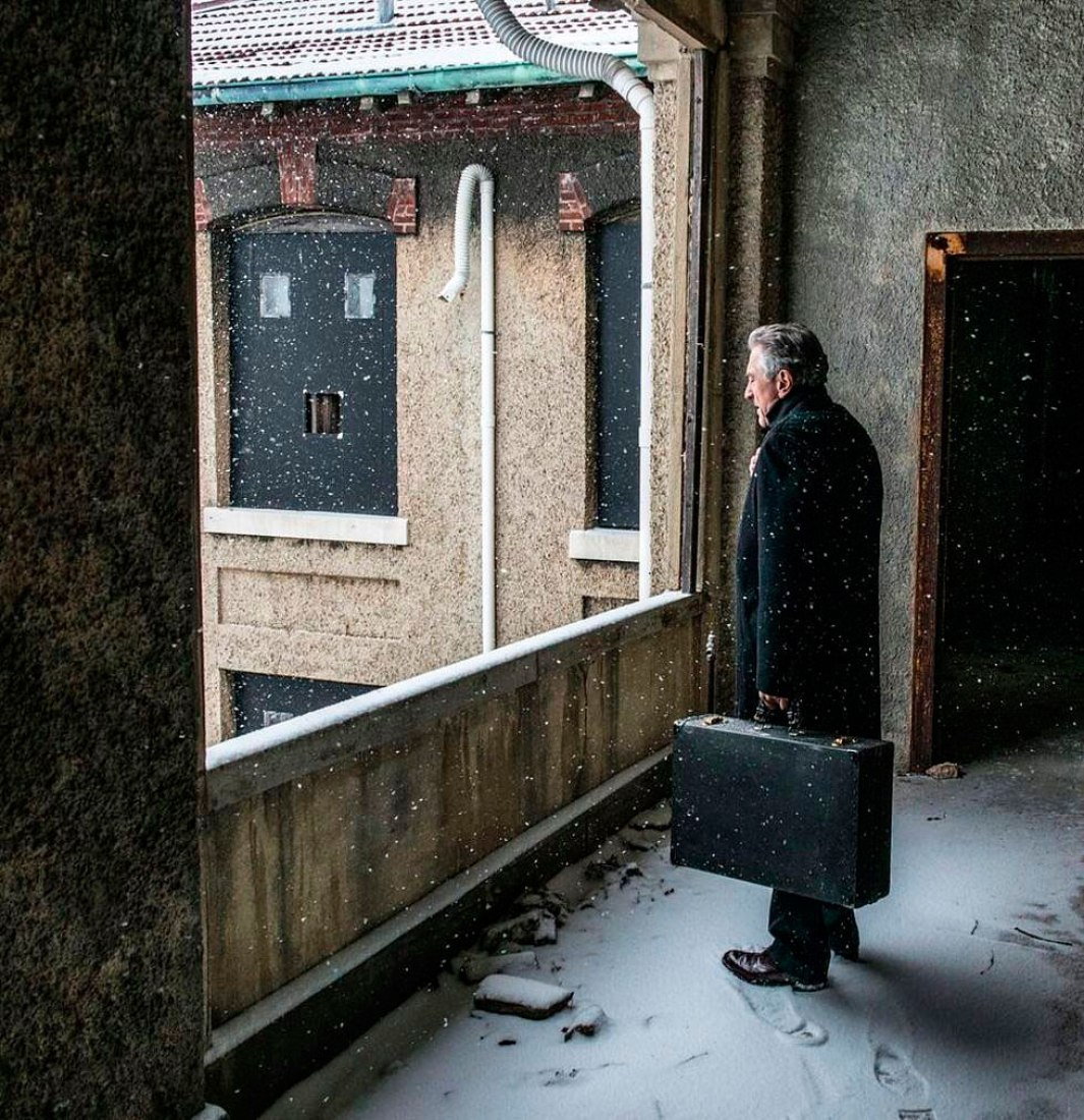 "Robert De Niro in a scene from ""Ellis."" Ellis by JR. Images and all photographs courtesy JR-art.net. All rights reserved."