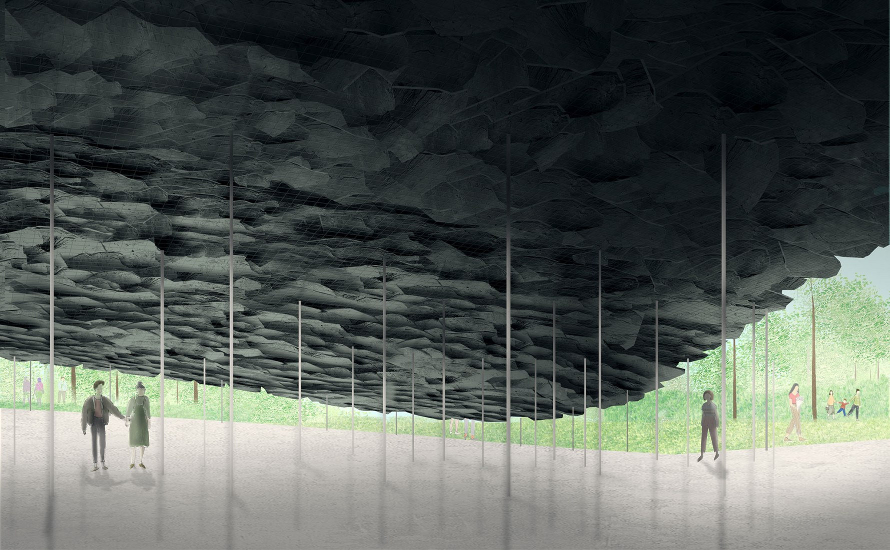 Design Render, Interior View. Serpentine Pavilion 2019 by Junya Ishigami + Associates