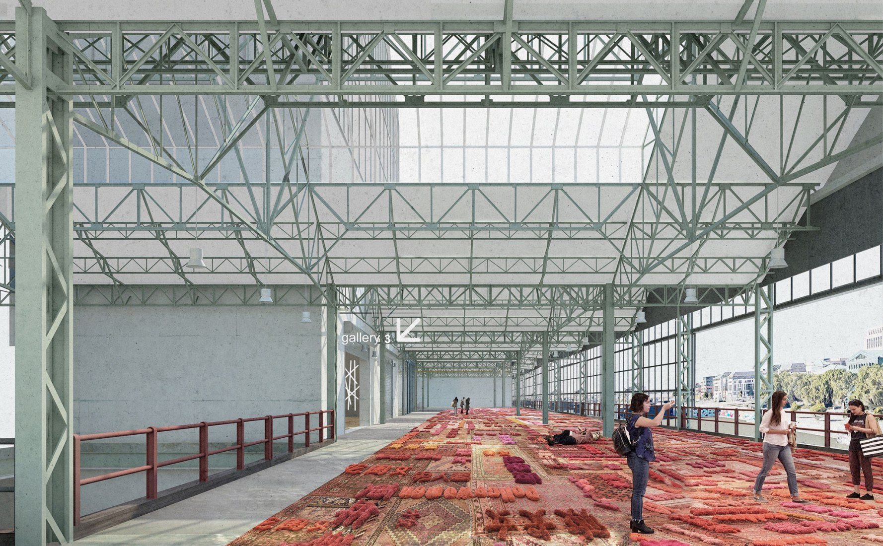 Interior view rendering. 'A Stage for Brussels' by NOA, EM2N and SBA. Image courtesy of NOA / EM2N / SBA