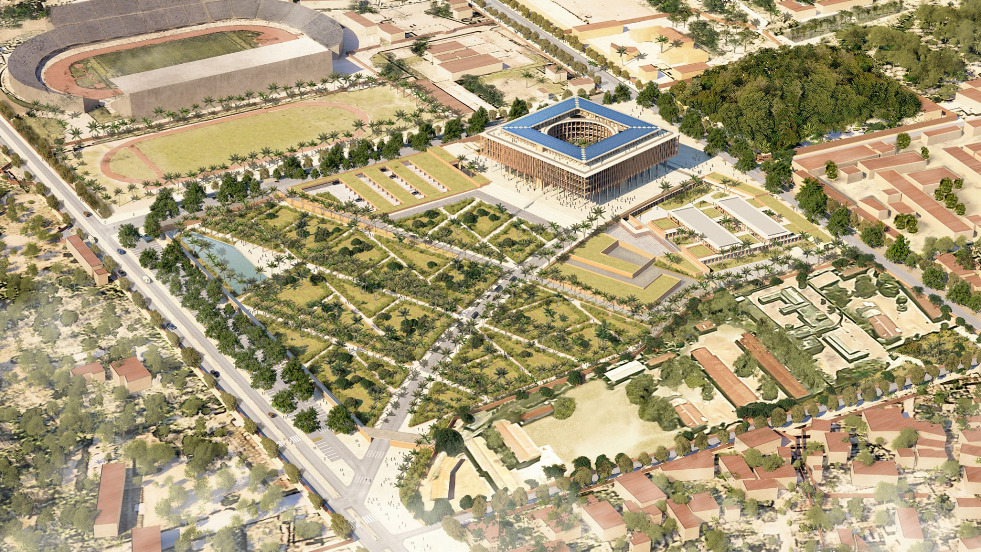 Asamblea Nacional de Benín por Kéré Architecture. Visualización por Kéré Architecture