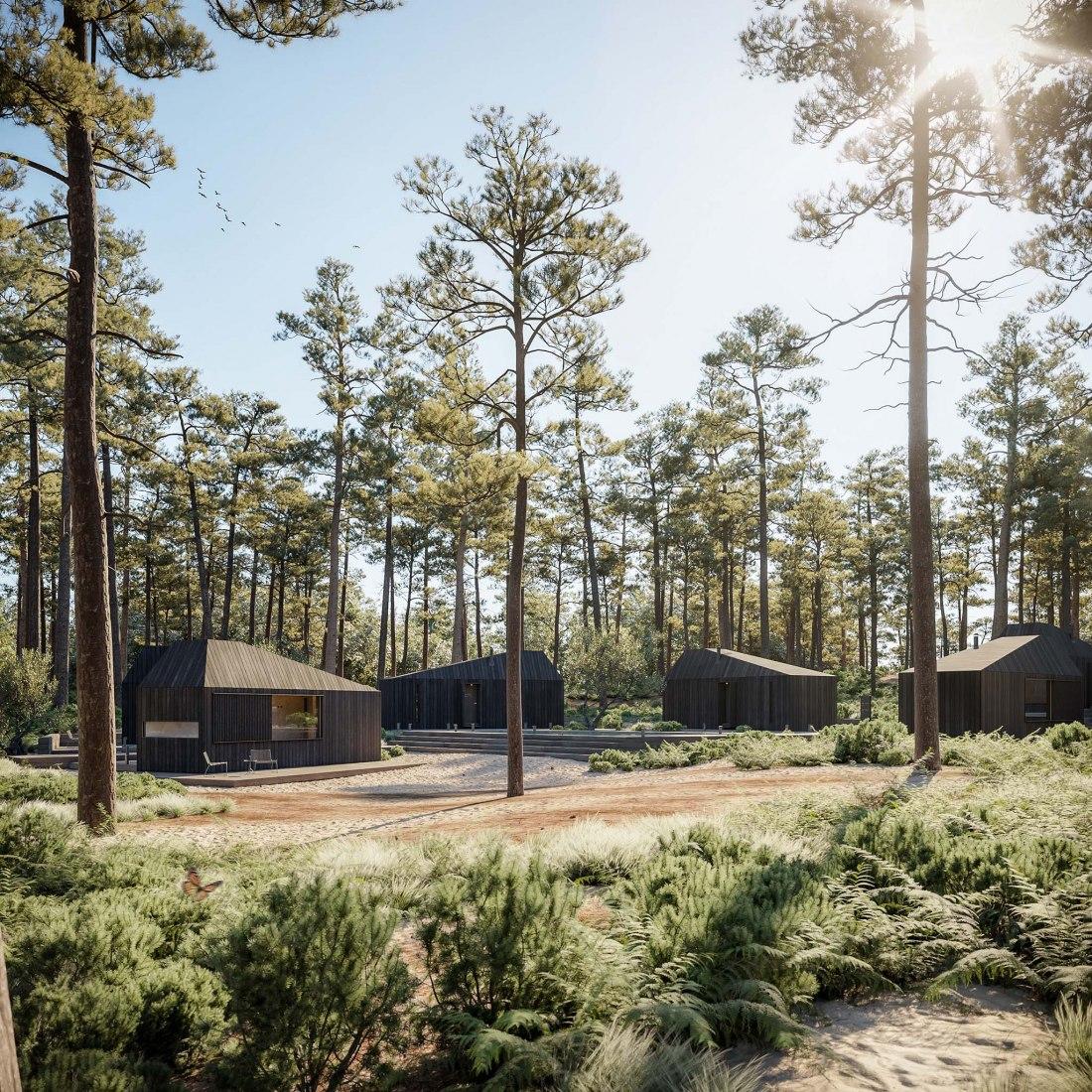 Hytte Cabins by Aylott & Van Tromp and Koto Design. Rendering by Merge Visualisation