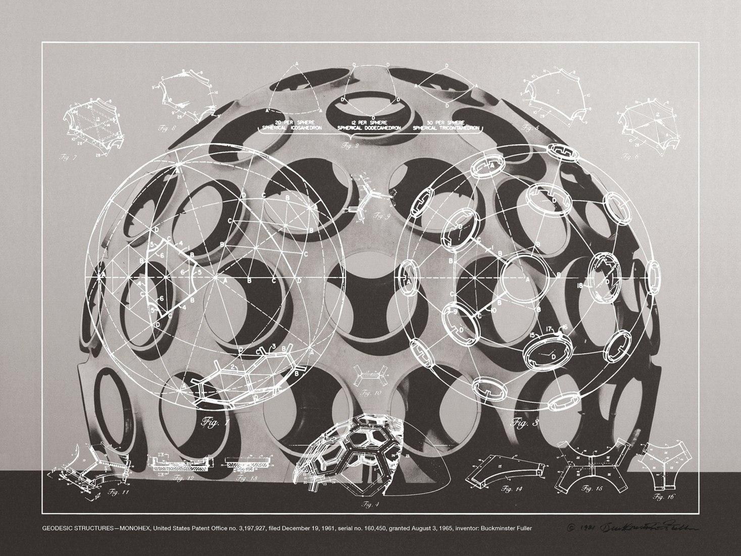 Buckminster Fuller, Estructuras Geodésicas - Monohex, 1981. Lámina transparente serigrafiada, una serigrafía de duotono en papel Lenox 100% rag y una hoja azul de respaldo de papel Curtis 100% rag, 30 x 40 pulgadas (76.2 x 101.6 cm).
