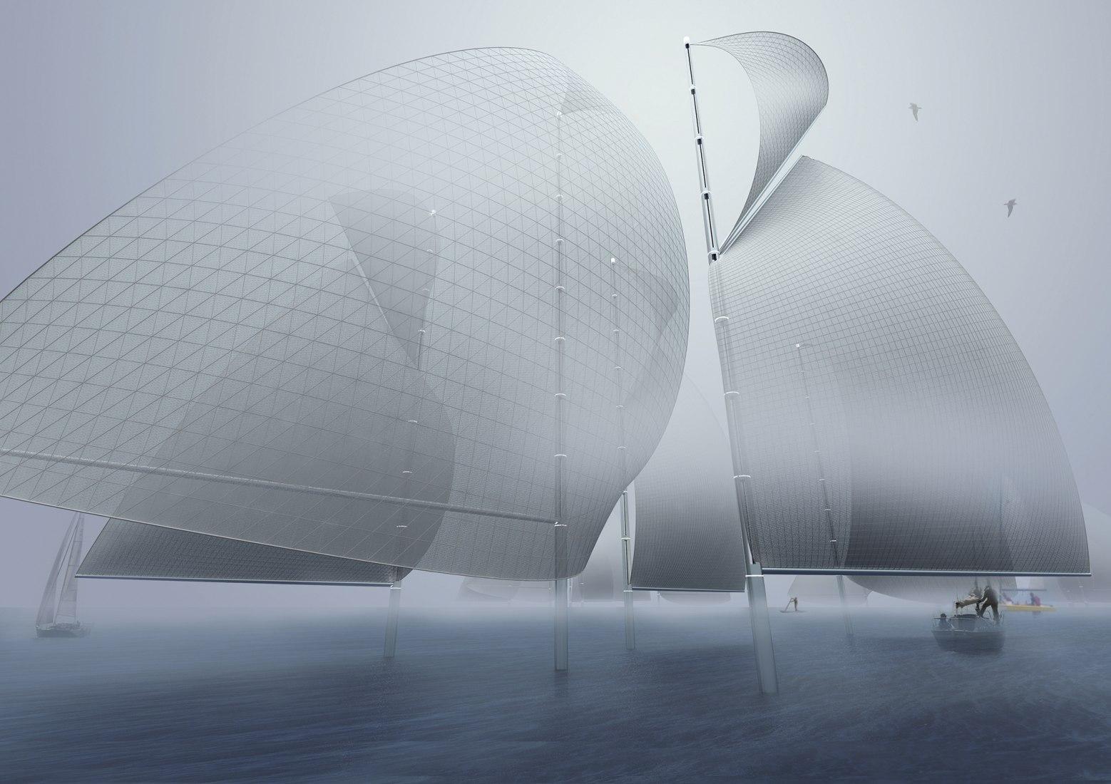 First Prize. Regatta H2O: Familiar Form, Chameleon Infrastructure. Proposal by Christopher Sjoberg, Ryo Saito