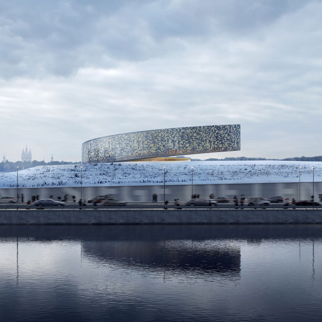 Rendering. Museum for the Defense and Siege of Leningrad by Lahdelma & Mahlmäki's. Visualitation by Brick Visual