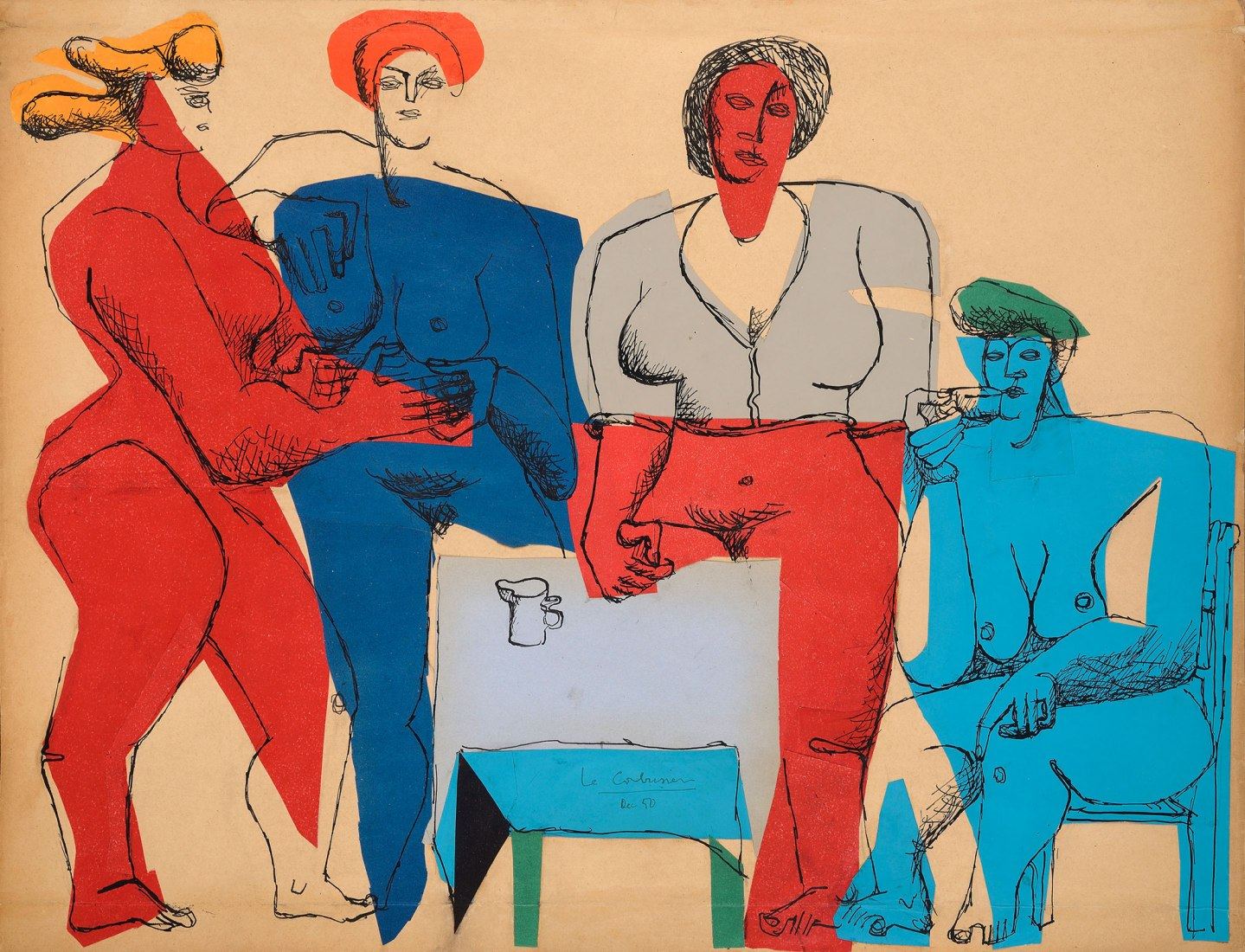 Quatre femmes autour d'une table, 1950. Ink and collage of colored papers on paper. Signed. 50 x 65 cm. Imagen cortesía Galería Guillermo de OsmaImage courtesy Guillermo de Osma Gallery