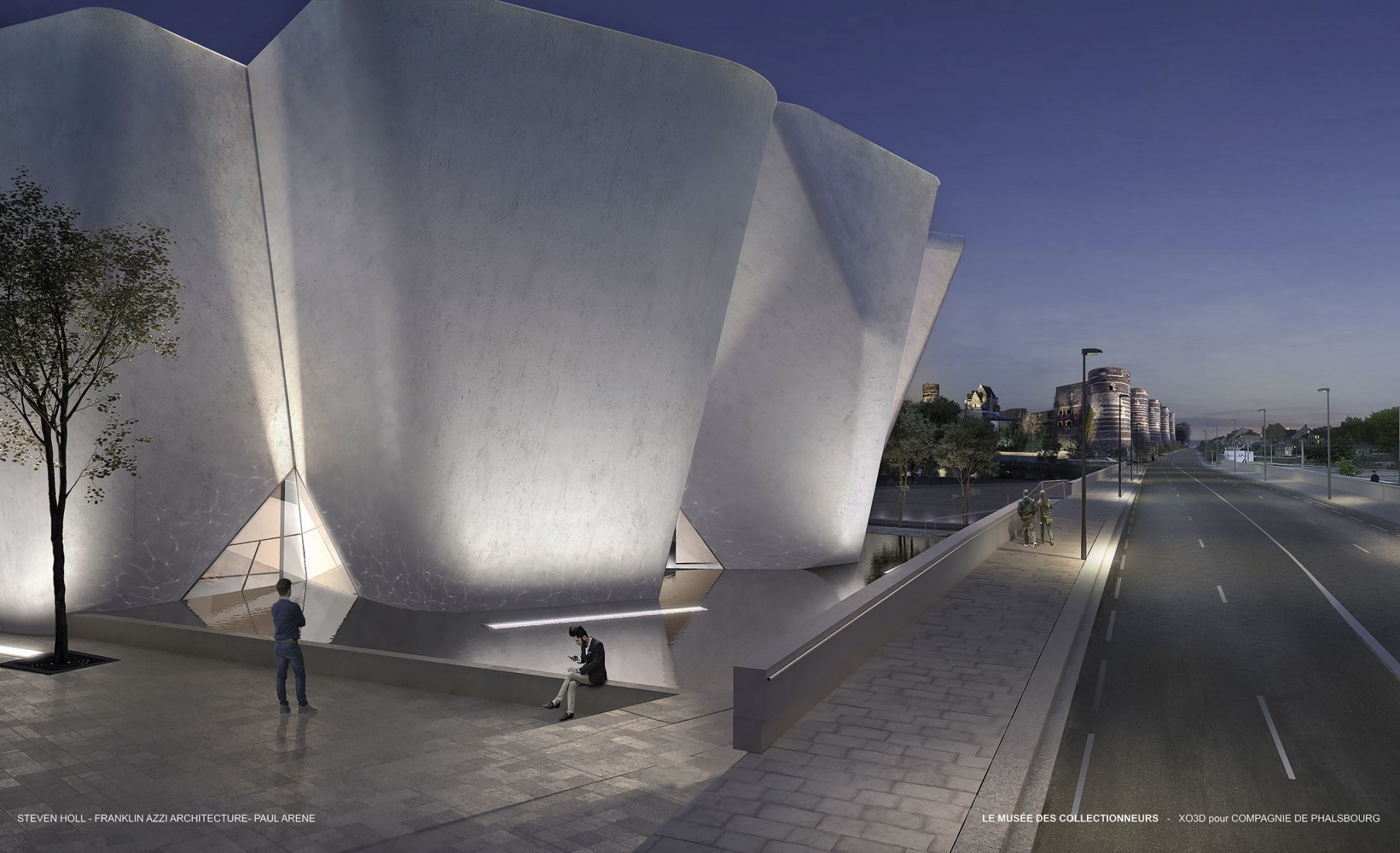 The white concrete museum is inspired by an adjacent fortress. Image Courtesy of Steven Holl / Imagine Angers