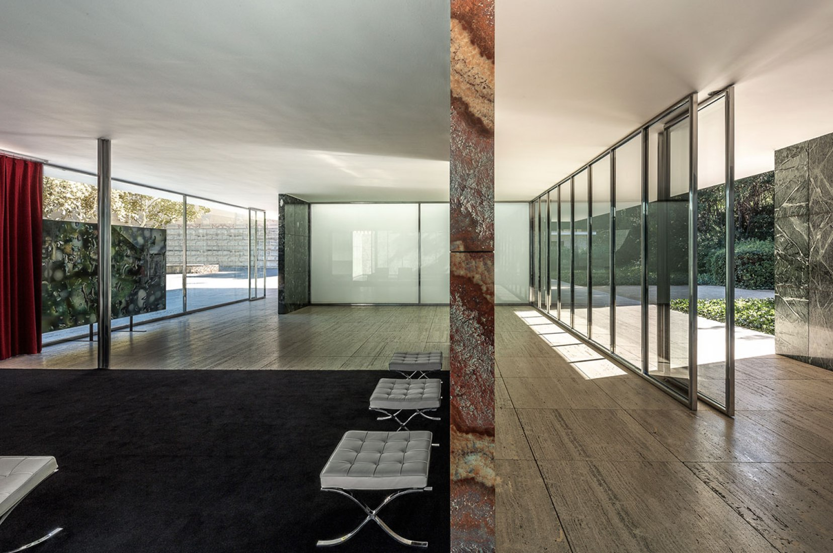 Pavilion Mies van der Rohe of Barcelona. Furniture by Lilly Reich. Photograph © Rafa Vargas. Image courtesy of Fundació Mies van der Rohe.