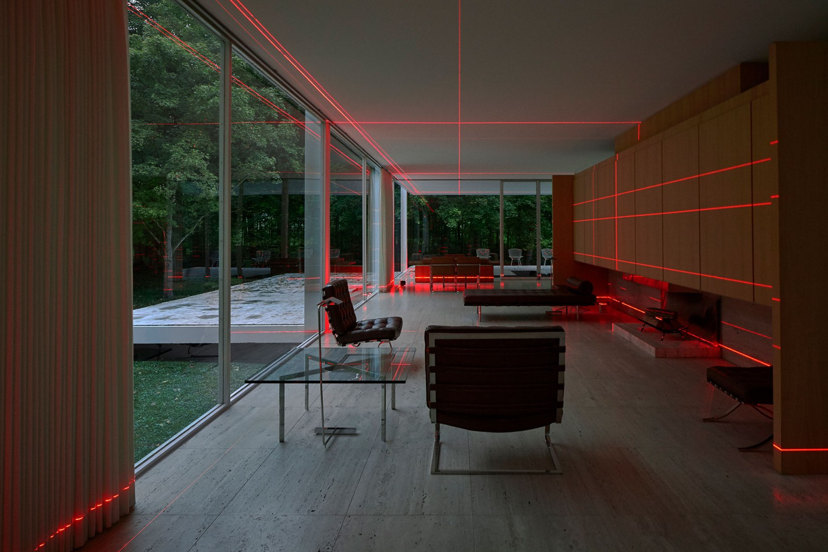 Geometry of Light at Farnsworth House by Luftwerk & Iker Gil. Photograph by Kate Joyce.