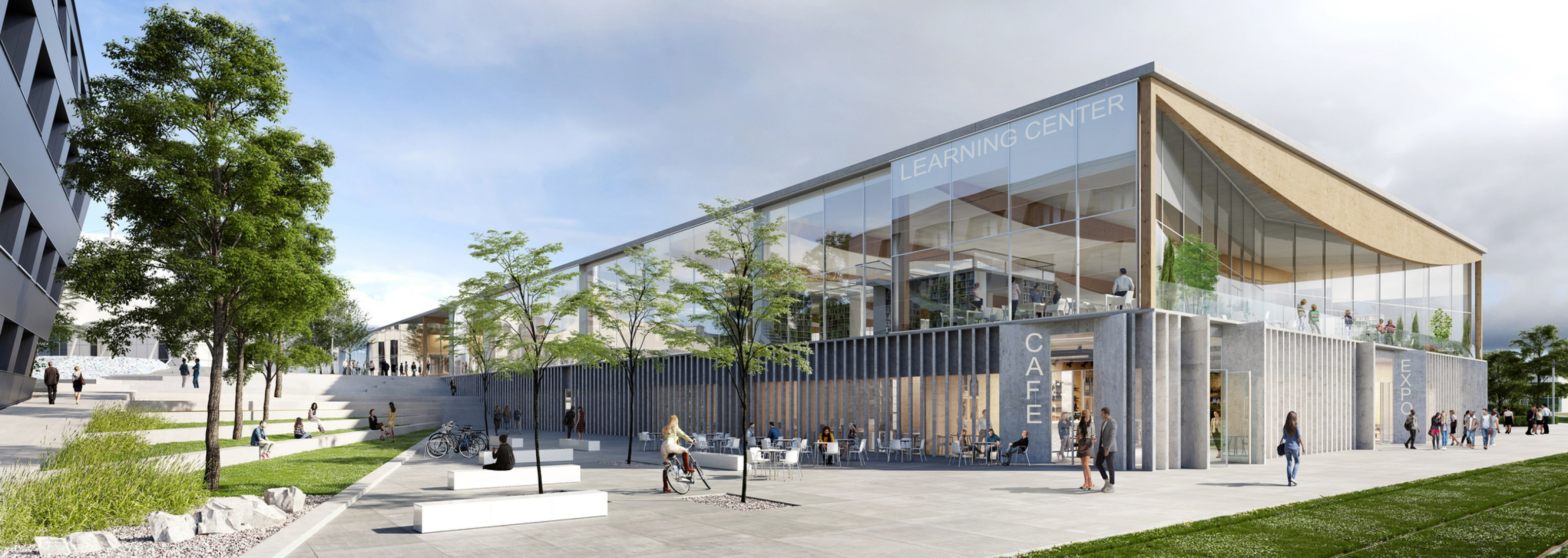 Outside view rendering. Lumière University Lyon 2 Learning Centre by ALA Architects