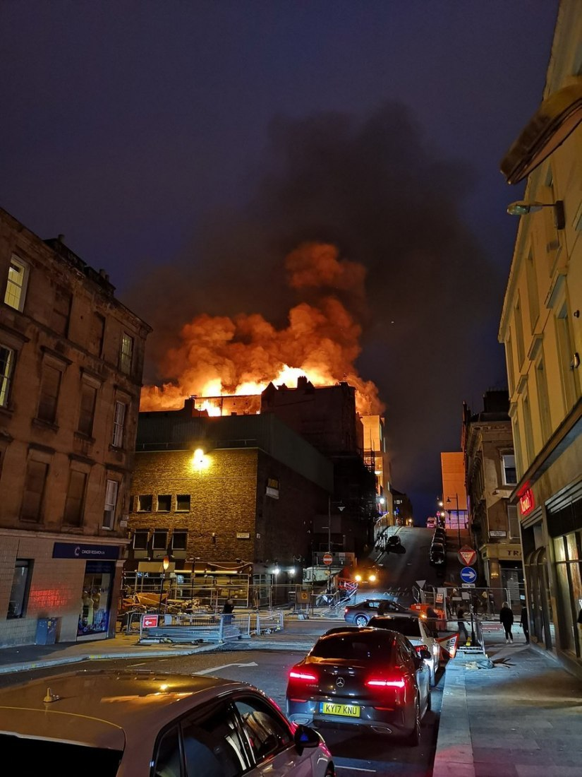 The fire could be seen from all Glasgow. Photograph by Rocco Giudice