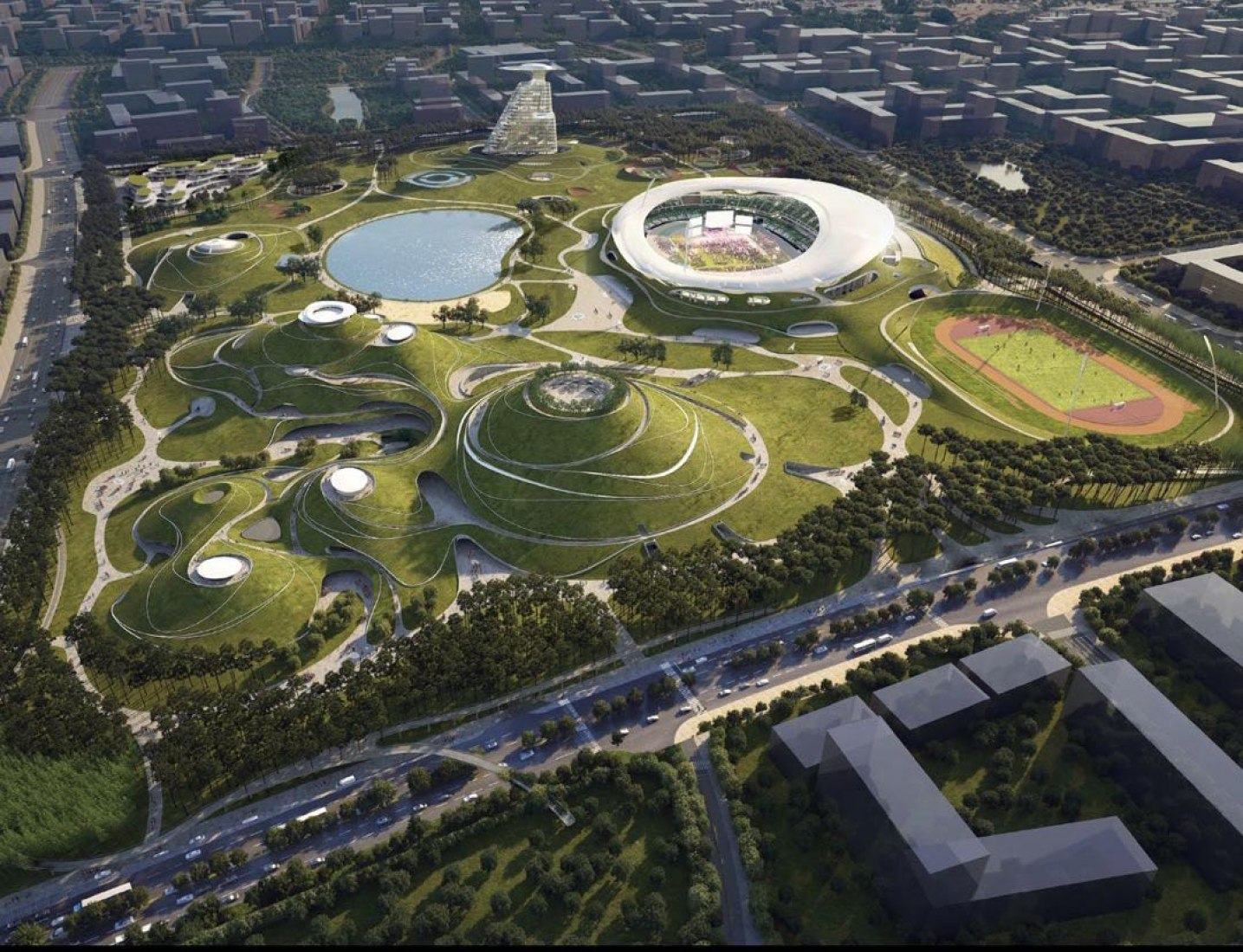 Overview rendering. Quzhou Sports Campus by MAD Architects. Image courtesy of MAD Architects