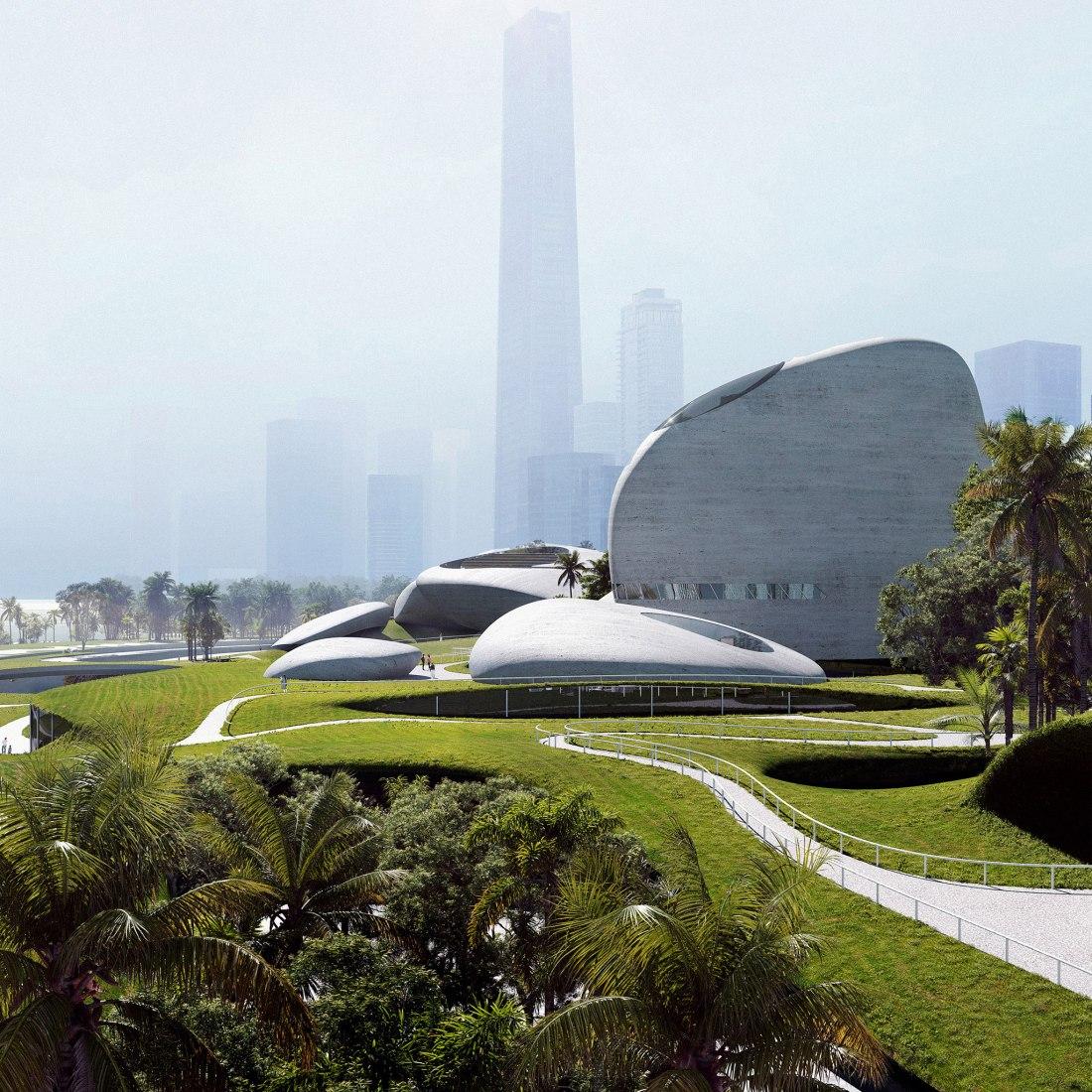 Parque cultural de la bahía de Shenzhen por MAD. Visualización por MIR. Imagen cortesía de MAD Architects