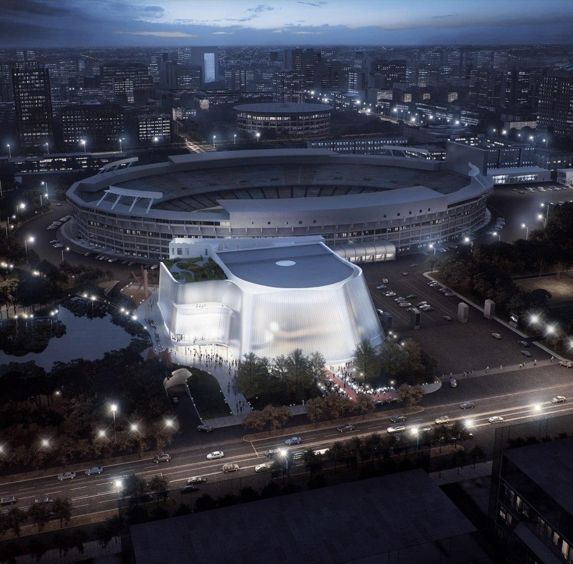 Diseño para la nueva sala de conciertos de la Filarmónica de China en Pekín por MAD Architects.