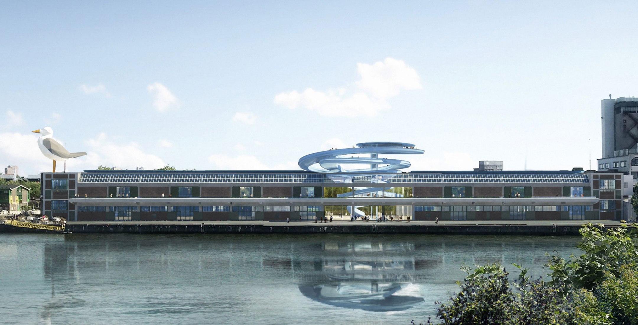 Visualización, vista exterior. Mirador panorámico para el almacén de Fenix por MAD Architects. Imagen de SAN
