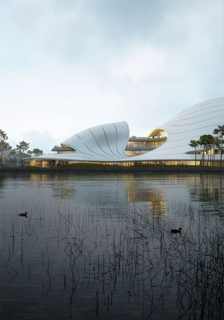 Centro Cívico de Jiaxing por MAD Architects. Visualización cortesía de MAD Architects.