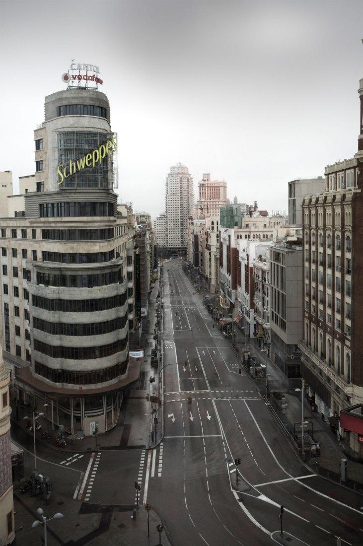Madrid vacío. Gran Vía. Imagen cortesía de Ignacio Pereira
