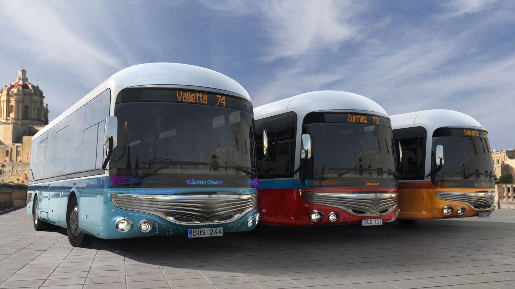 Visualización. Malta Bus Reborn por Mizzi Studio.