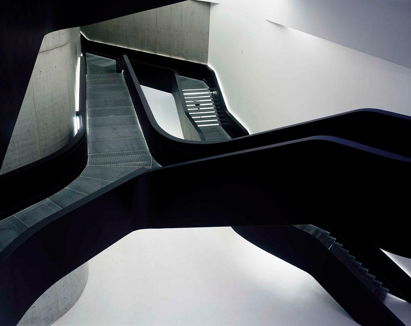 MAXXI - National Museum of the 21st Century Arts(1998–2010), Rome, Italy.Stirling Prize 2010 winner by Zaha Hadid Architects. Photograph © Roland Halbe