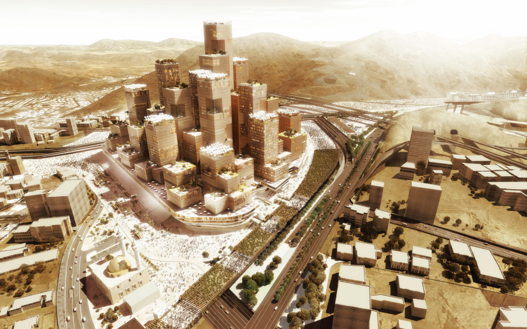Rendering. Darb Al Mashaer. New Mecca master plan by X-Architects. Image © X-Architects