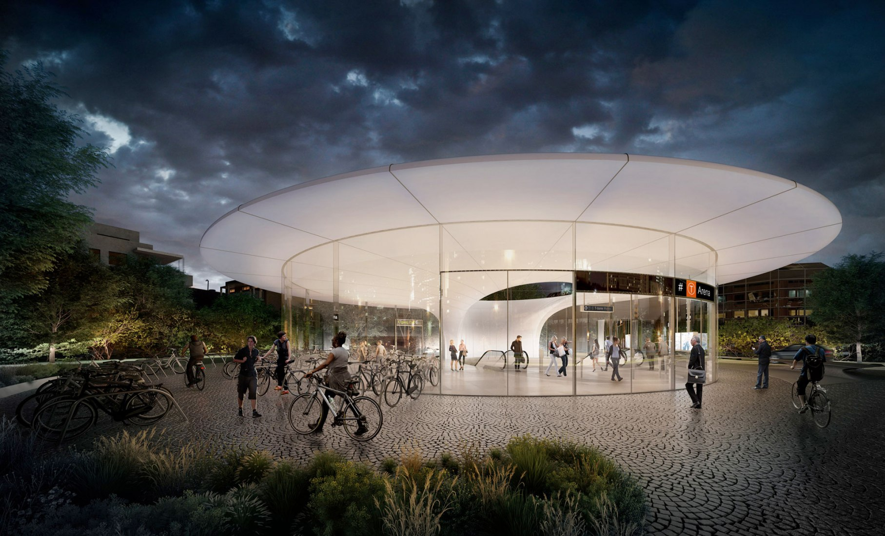 Fornbuporten Arena Station, North entrance, by Zaha Hadid Architects and A-Lab. Rendering by VA