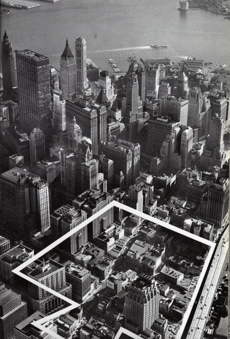 Aerial photograph of the future site of the World Trade Center. Found in 1963/64 special Issue of Via Port of New York