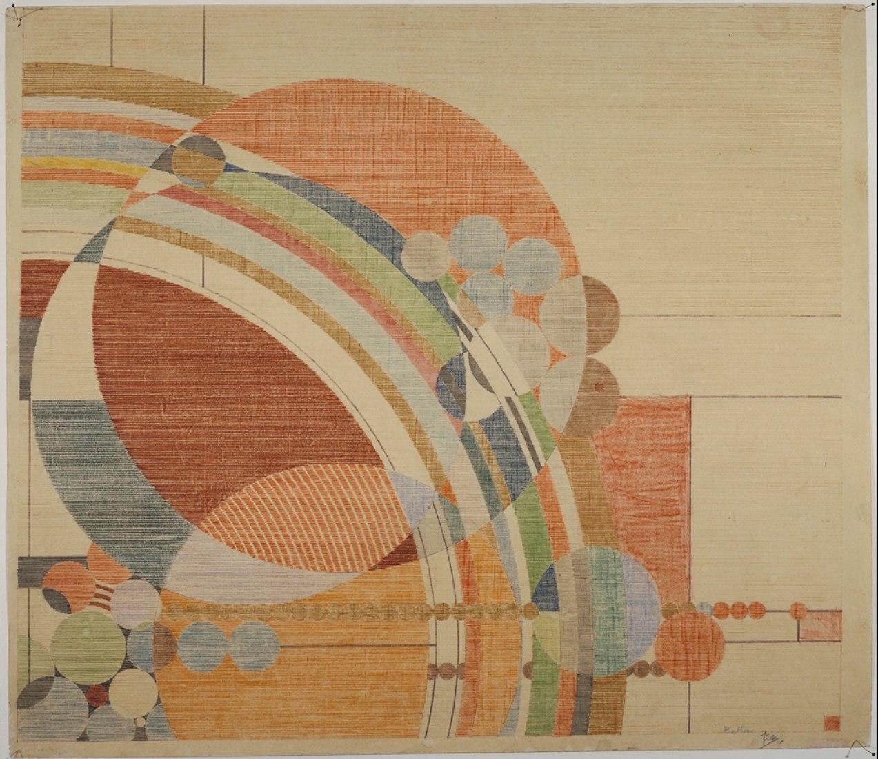 Cubierta de la revista Liberty. 1926. Lápices de colores sobre papel. 24 1/2 x 28 1/4″ (62.2 x 71.8 cm). Archivo de la Fundación Frank Lloyd Wright (The MoMA | Biblioteca Avery de Arquitectura y Bellas Artes, Universidad de Columbia, Nueva York).