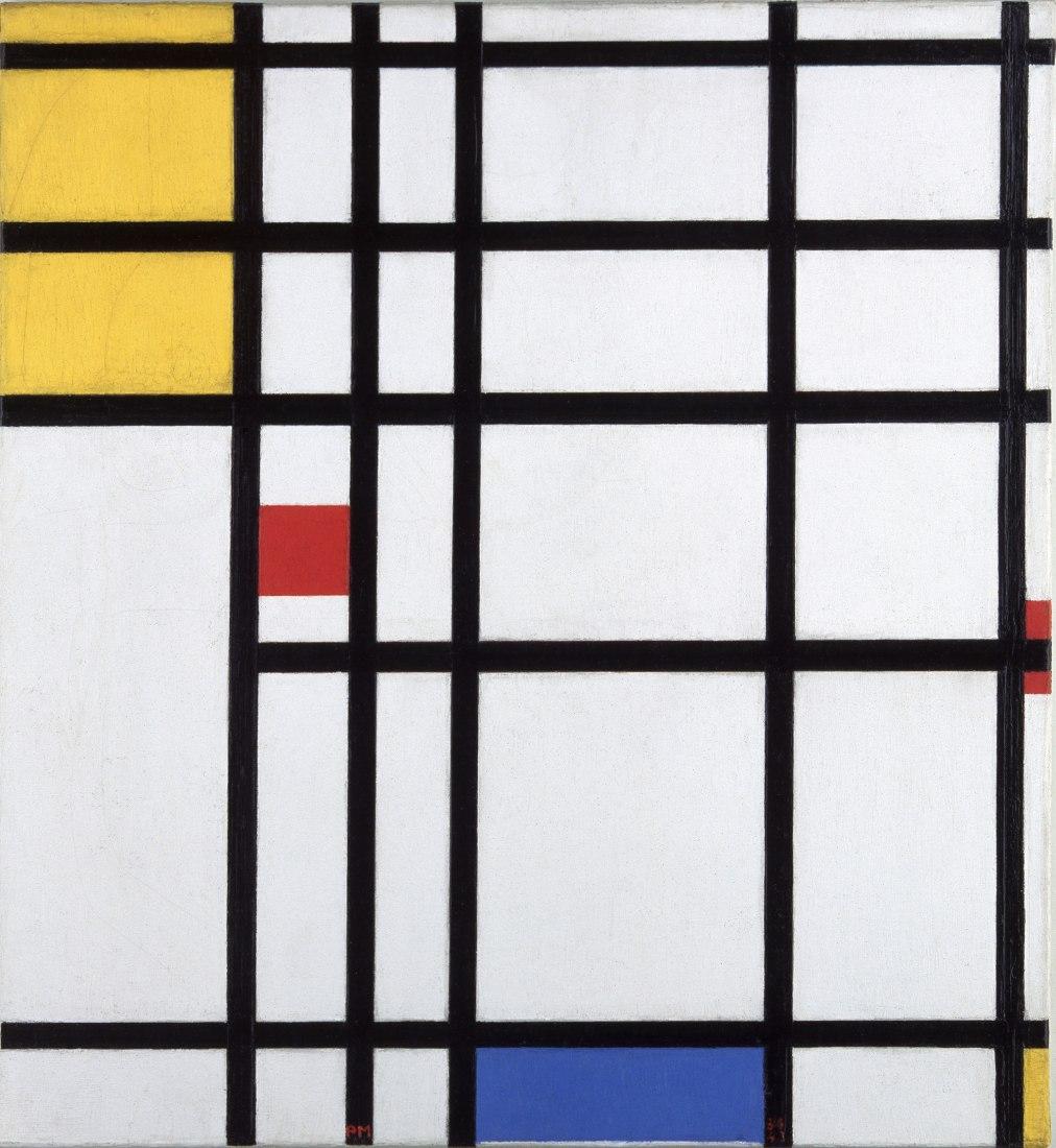 Piet Mondrian, Pintura II, 1936-43, con amarillo, rojo y azul, 1936-43. Óleo sobre lienzo, 60 x 55 cm. Moderna Museet, Estocolmo. Compra 1967 (The Museum of Our Wishes). © 2020 Mondrian/Holtzman Trust.