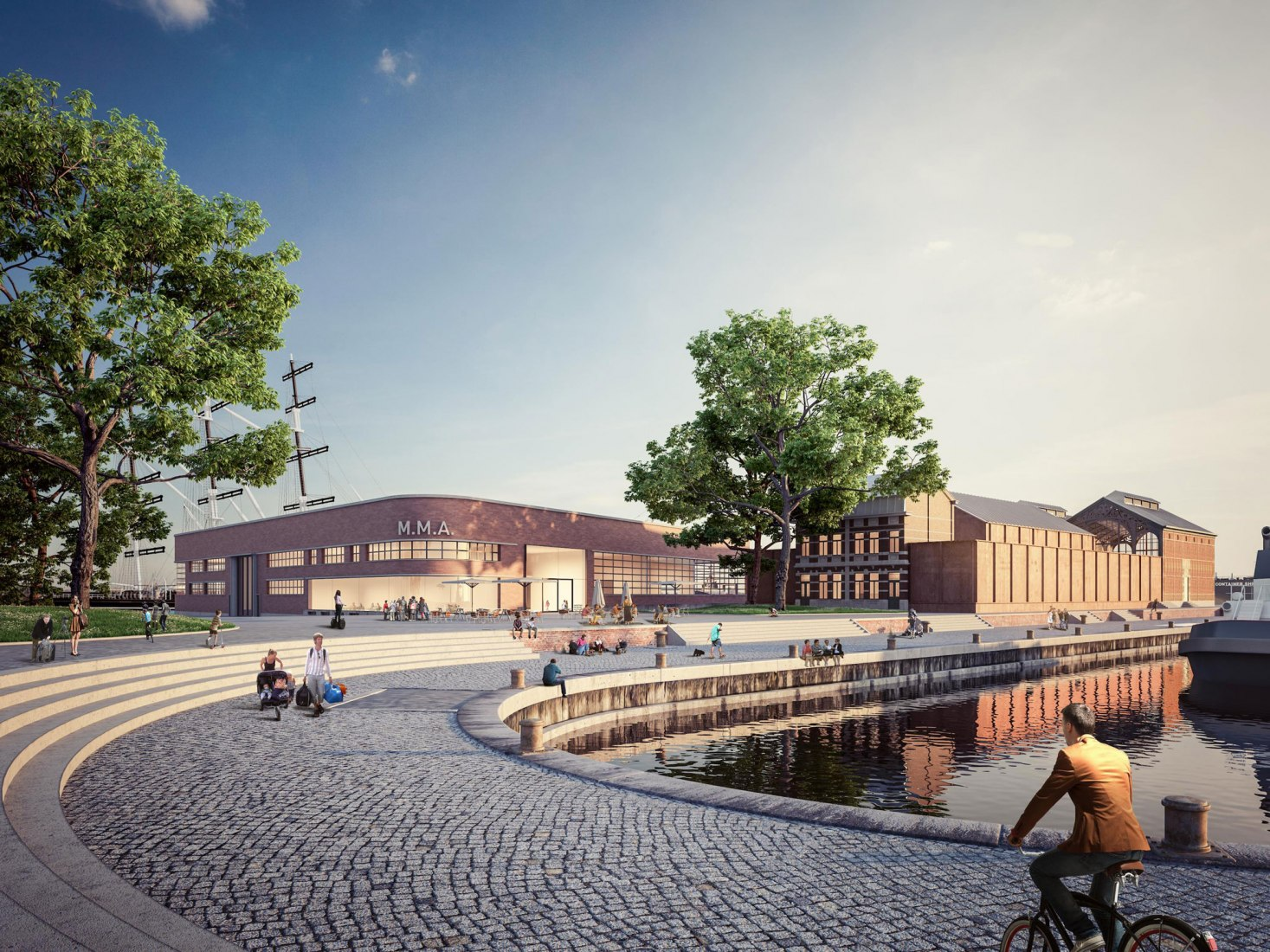Rendering. New Maritime Museum in the city of Antwerp. Courtesy by Atelier Kempe Thill