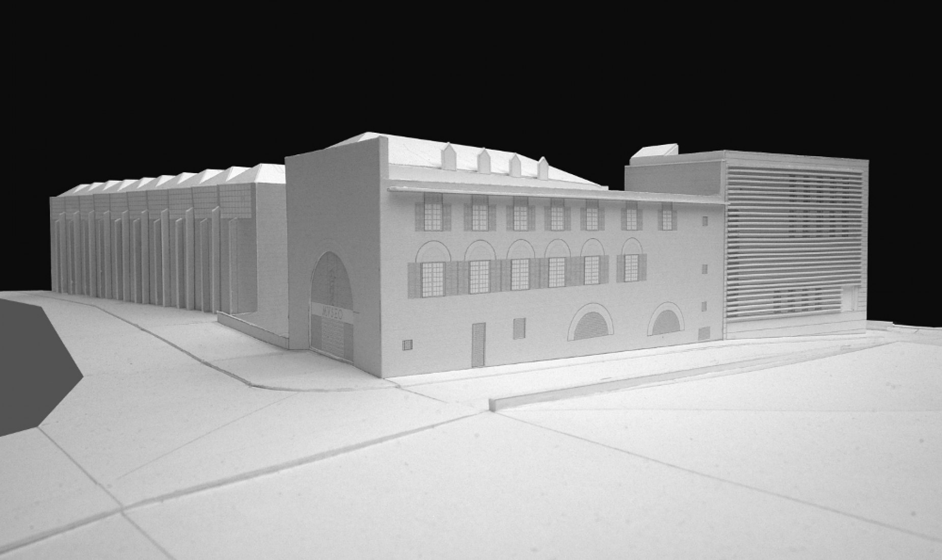 Exterior rendering. Extension of the National Museum of Roman Art of Mérida by Rafael Moneo