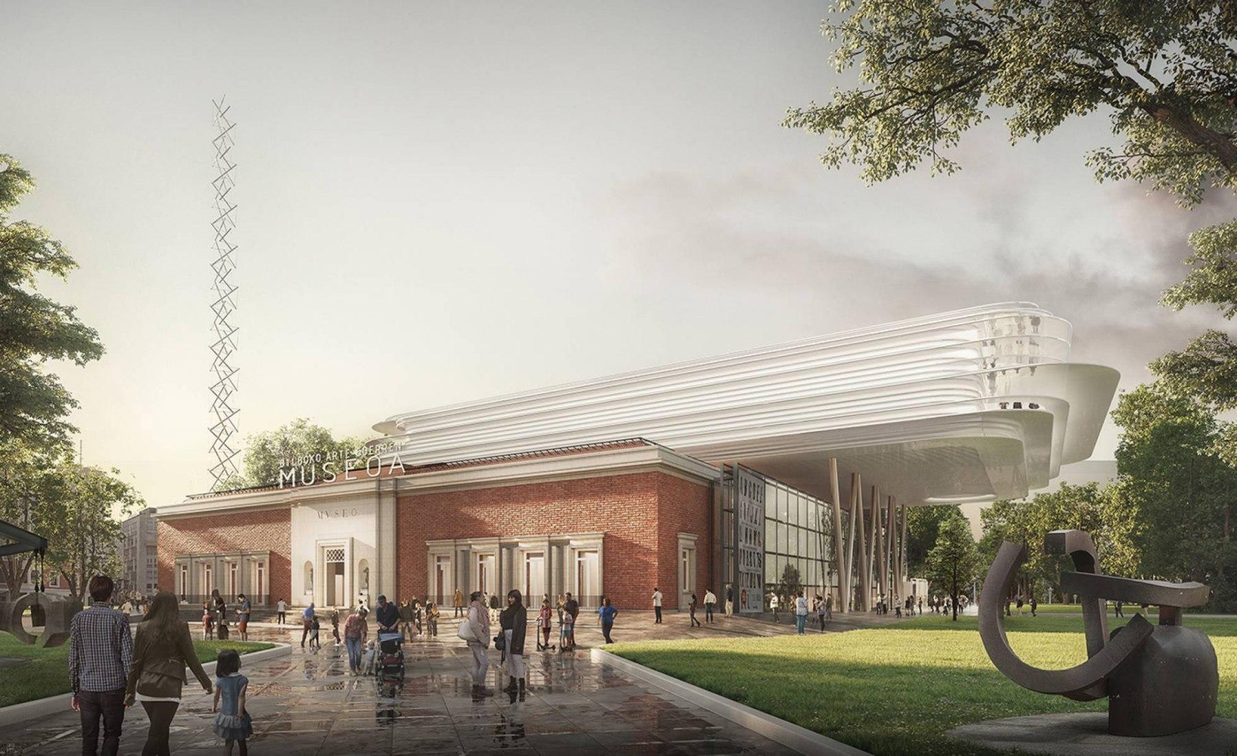 Visualización del exterior. Ampliación y reforma del Museo de Bellas Artes de Bilbao por Foster + Partners y LM Uriarte Arkitektura