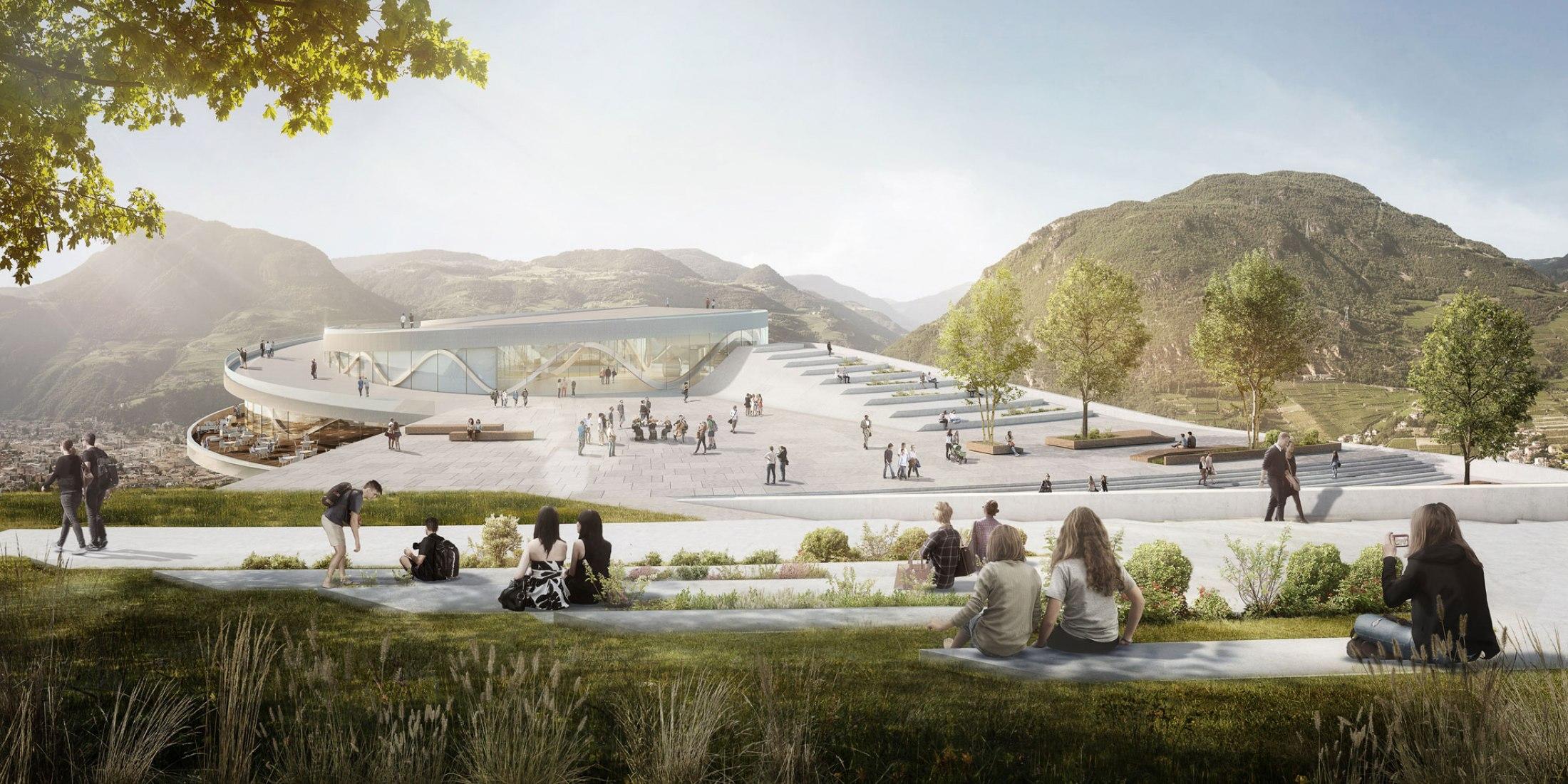 New Museum Quarter on top of the Virgl Mountain. Image courtesy of Snøhetta y moka-studio.