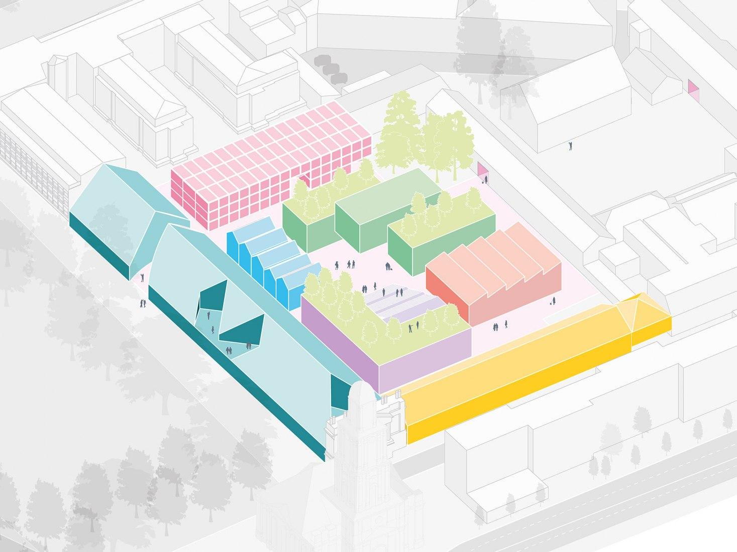 Axonometric view. New Creative Quarter Potsdam by MVRDV. Image courtesy of MVRDV